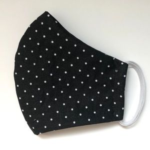 2/$15 NEW Adult Small Face Mask Black Polkadot